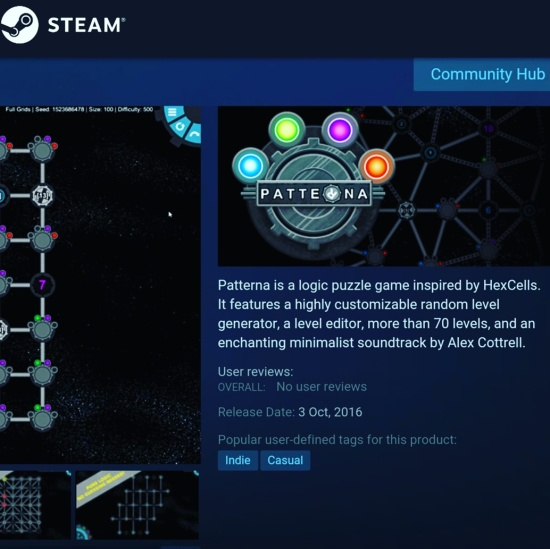 Patterna now available on Steam